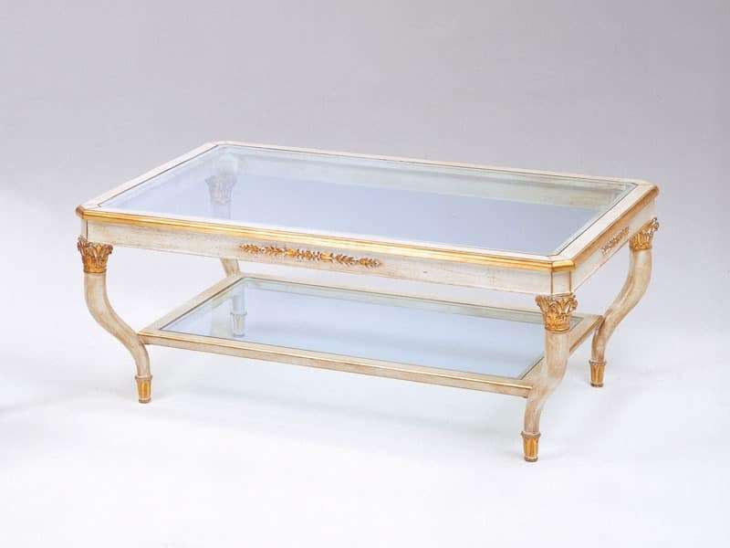 Art. 301 Mida, Luxury coffee table, hand-carved, with 2 glass shelves