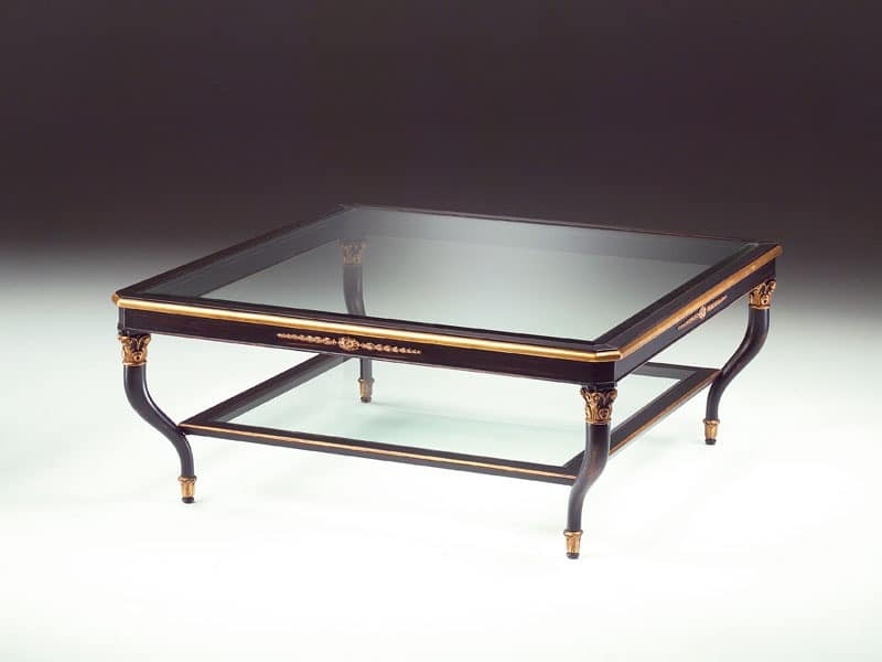 Art. 301/Q Mida, Wooden coffee table, glass top, for living room