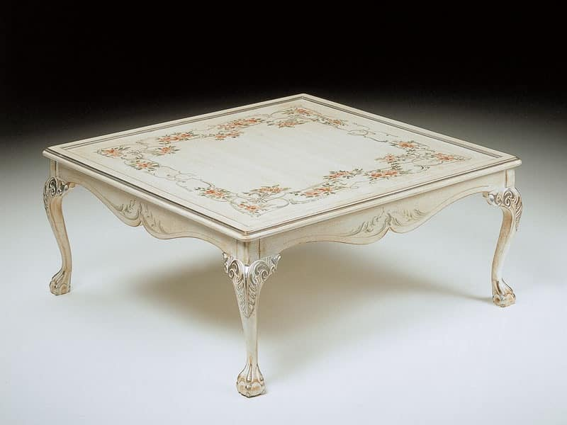 Art. 320/WD, Luxury square coffee table, hand decorated, living room