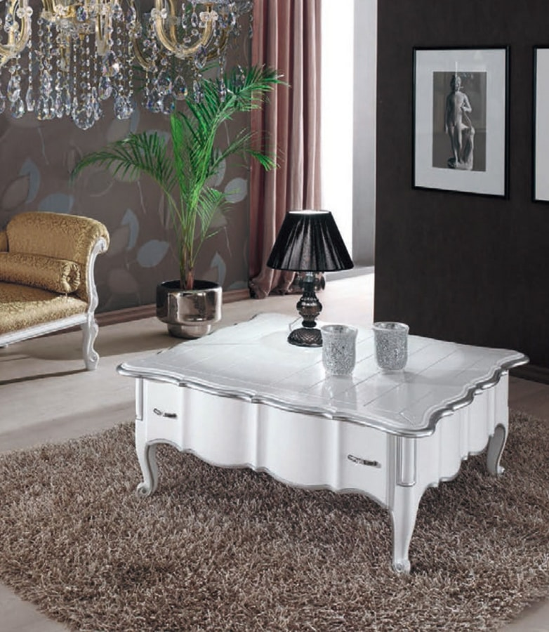 Art. 3222, White lacquered square coffee table
