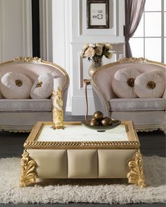 Art. 4086, Carved coffee table, gold leaf finish, square marble top