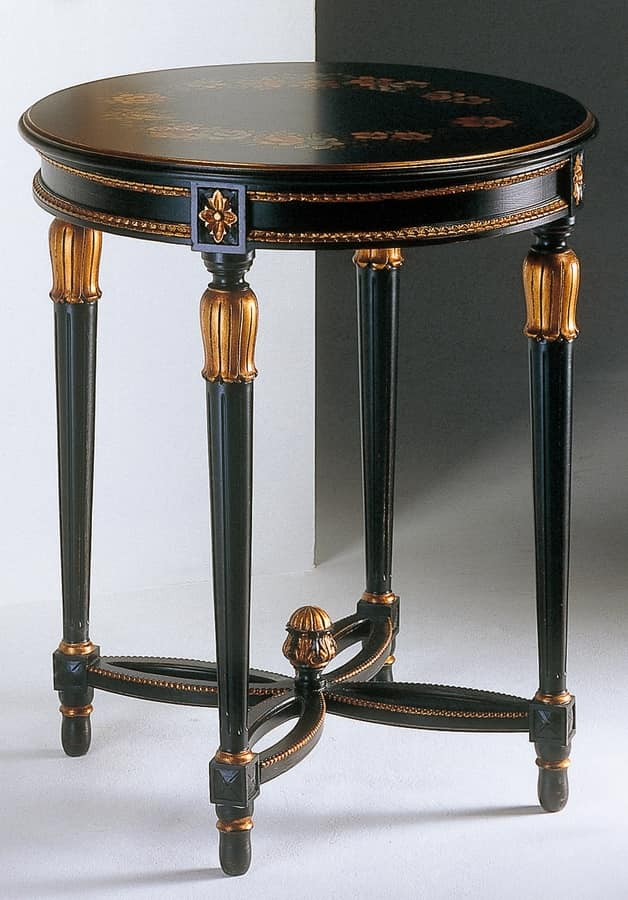Art. 535/AN Anastasya, Carved coffee table, Louis XVI style, for living room