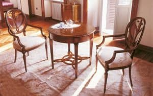 Art. 563/A, Wooden side table with inlaid round top, for stays classics