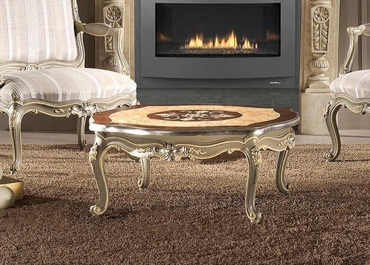 Art. 753, Coffee table carved and inlaid by hand, in classic style