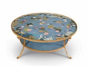 Art. 830, Coffee table inlaid with colored briars and mother of pearl
