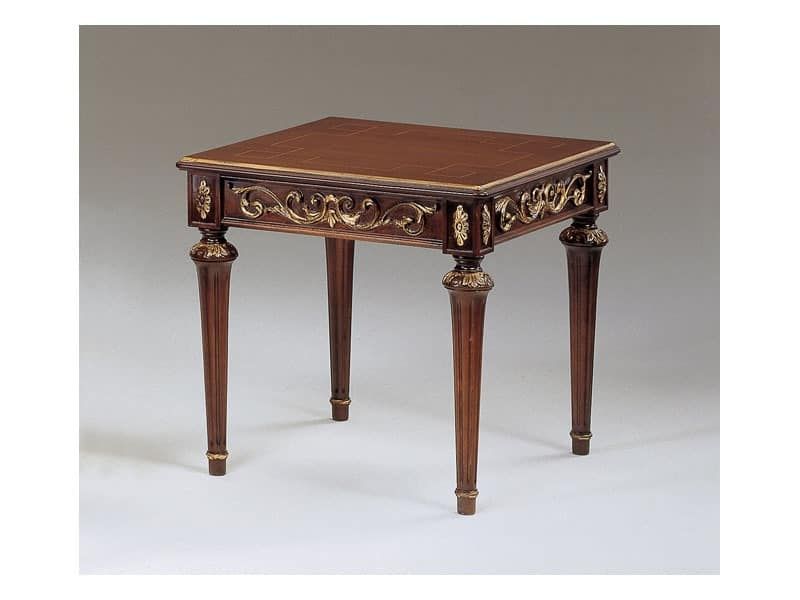 Art. 911 Decò, Classic small tables in carved wood, for luxury hall