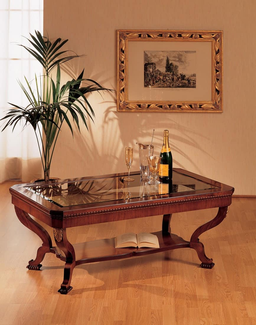Art. 962/R, Classic style small table, luxury, in hand carved wood