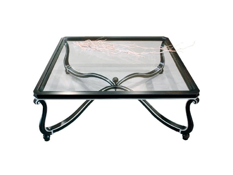 Art. 999, Preciously decorated small table, glass top, for lobby
