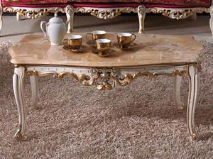 Baroque coffee table, Classic carved coffee table, with marble top