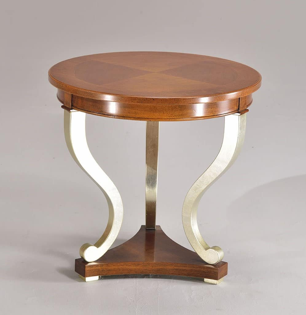 BOSTON coffee table 8449T, Round table hand crafted, in beech, for living room
