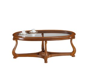 Brianza coffee table oval glass top, Classic style coffee table with glass top