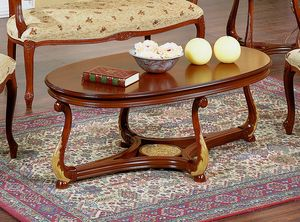 Brianza coffee table oval wood top, Oval coffee table