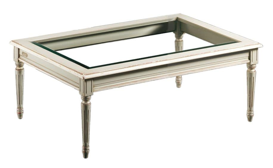 Clemente FA.0127, Rectangular coffee table, glass top, antique style