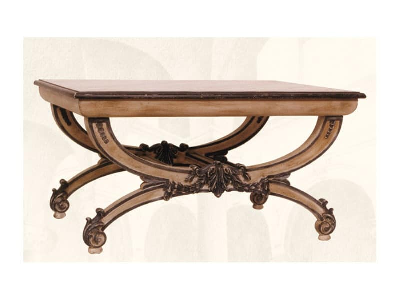 Coffe Table art. 308, Coffee table with hand-carved wooden top