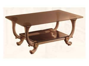Coffe Table art. 311, Classic style small table, with two glass shelves