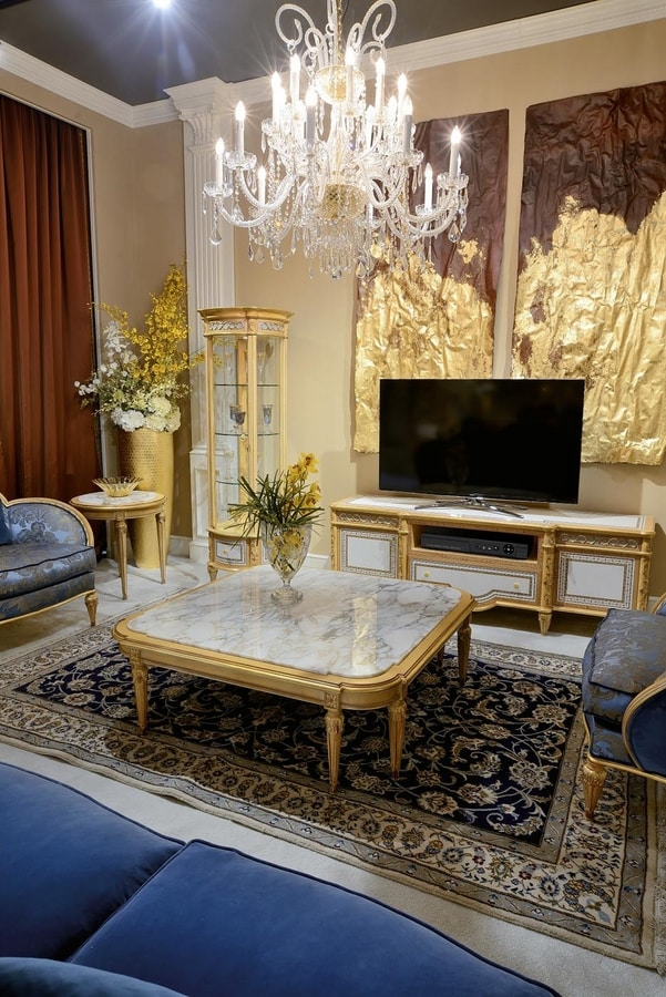 Coffee table 4973 Louis XVI style, Coffee table with marble top