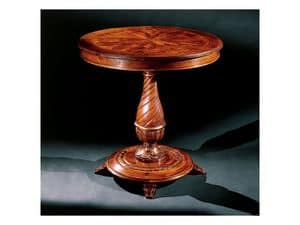 Complements side table 753, Round side table in carved wood