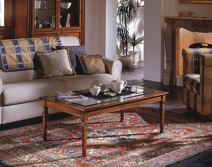 D 504, Classic cherry wood coffee table with glass top