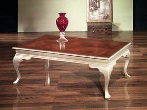 DECOR coffee table 8447T, Low rectangular coffee table, classic, for waiting room