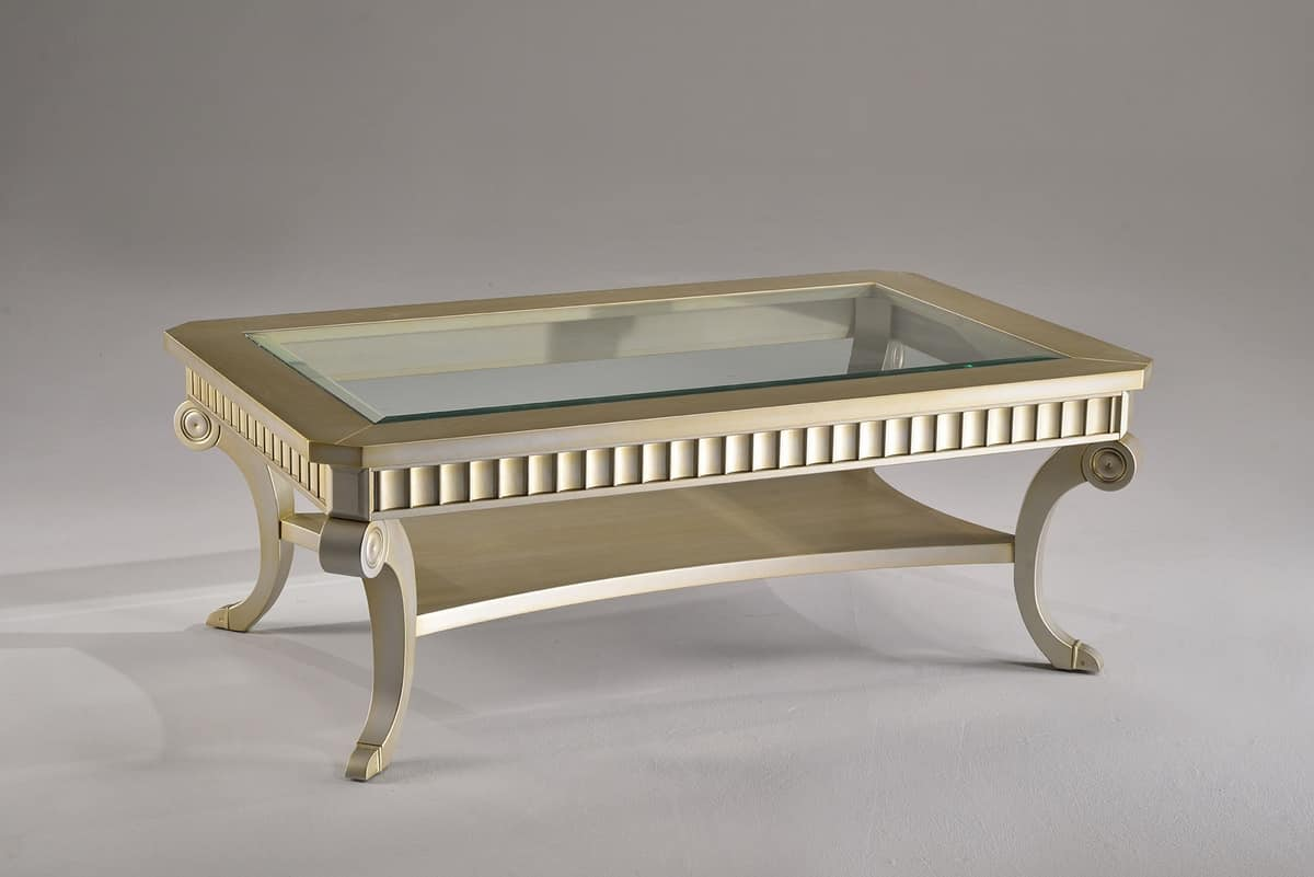 DINER coffee table 8448T, Rectangular coffee table, in beech and crystal, for hotels