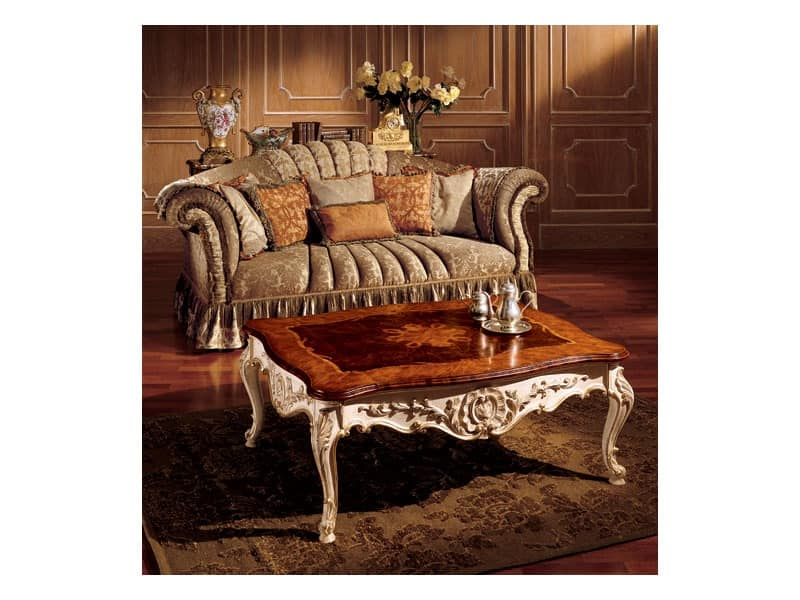 Emanuela coffee table 800, Precious coffee table with handmade decorations