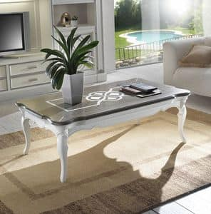 F 503, Coffee table in ash wood, rectangular, two-color top