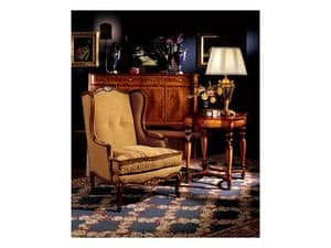 Ferrara side table 856, Luxury classic lamp table in carved wood