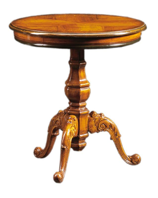 Filiberto FA.0115, Round coffee table in handmade wood, baroque stile