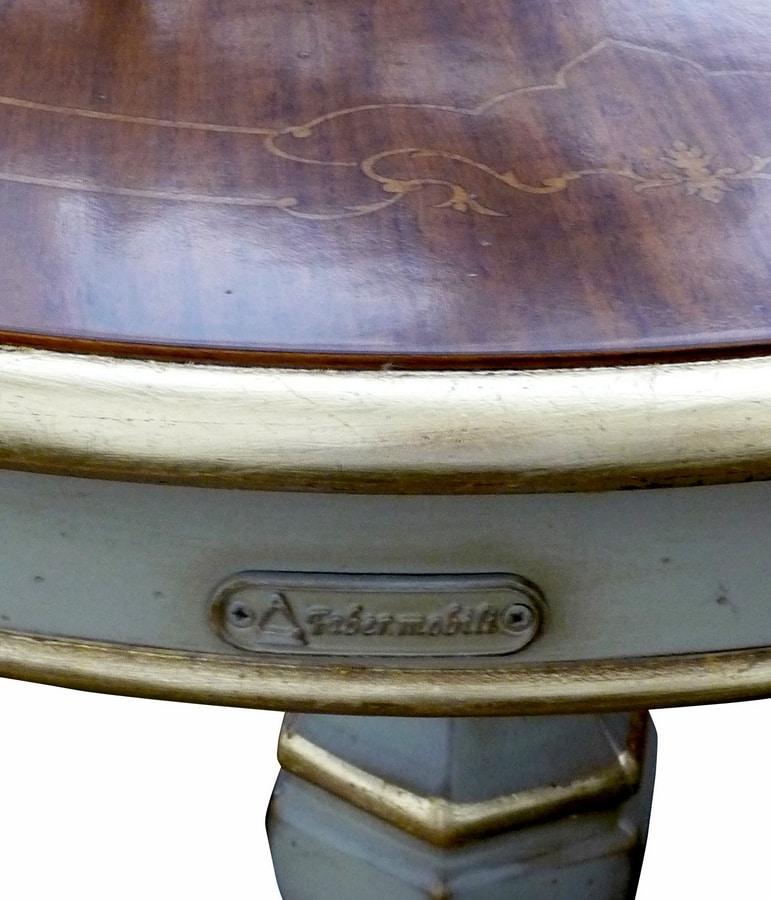 Filiberto FA.0115, Round coffee table in handmade wood, baroque stile