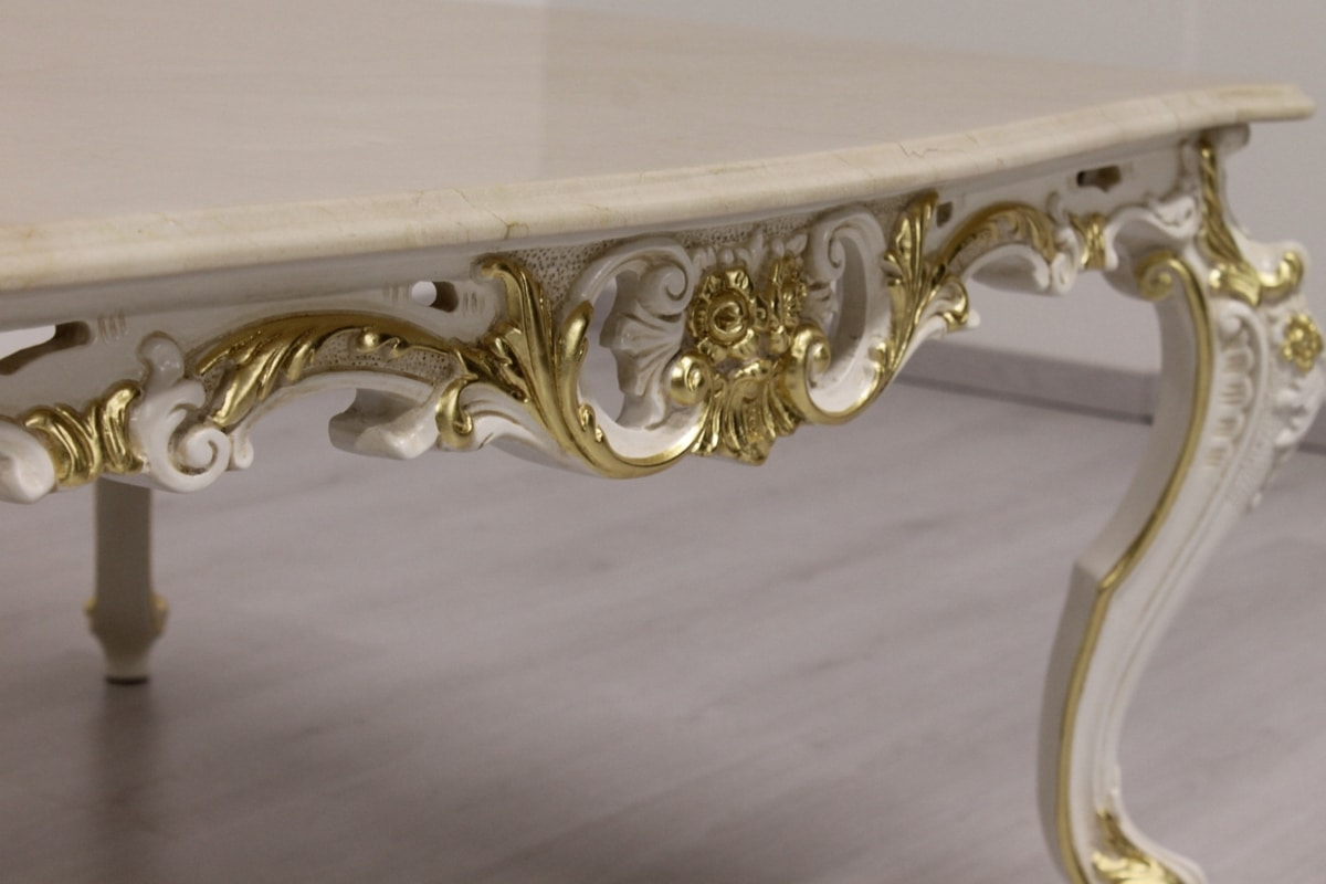 Firenze, Coffee table for living room with marble top