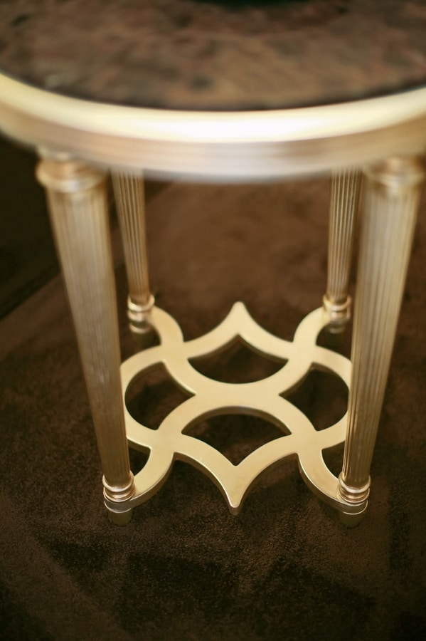 FLORA / side table with round marble top, Side table with marble top