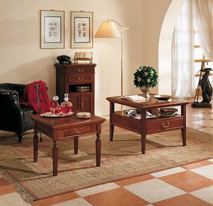 Giotto coffee table, Coffee table with glass top, with 4 drawers