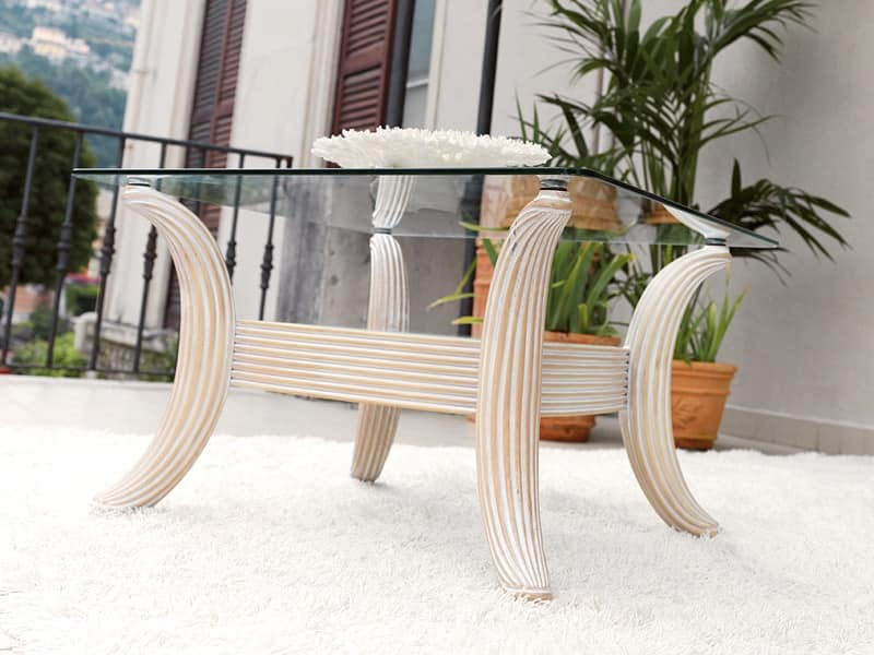 Ikarus Coffe table, Classic contemporary coffee table, in glass and wood