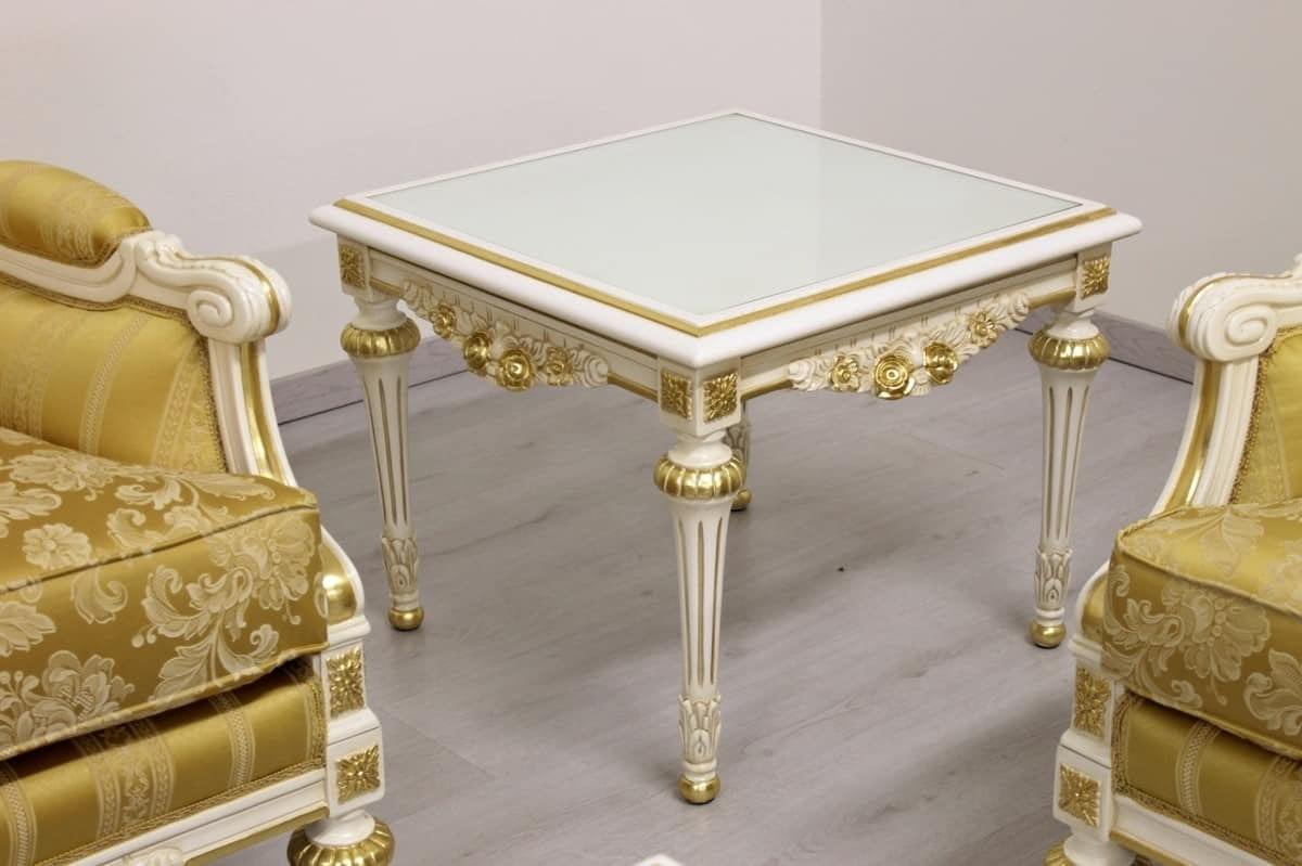 Impero lamp table, Side table preciously decorated by artisan masters