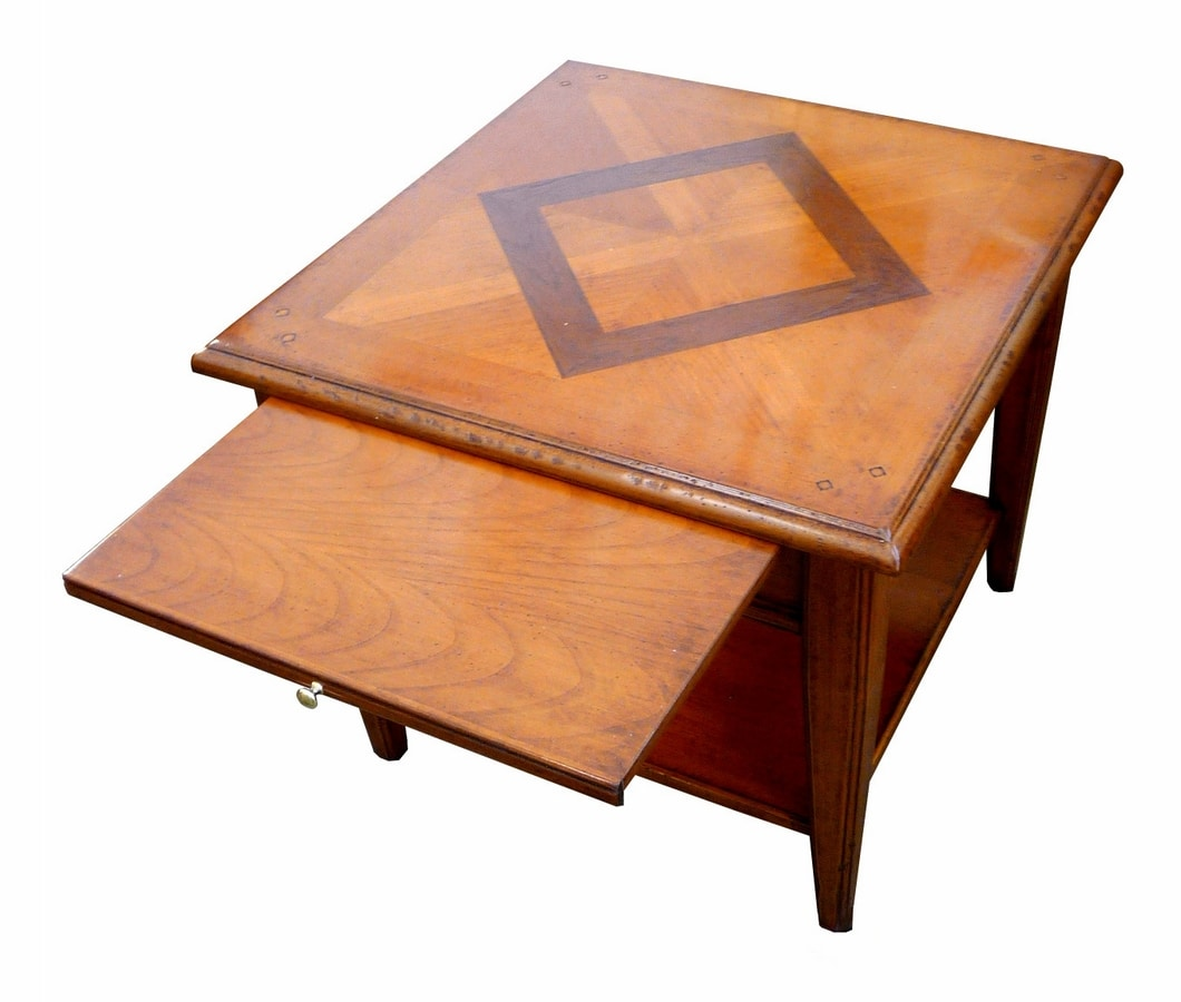 Ivan FA.0125, Square coffee table with inlaid wood floor