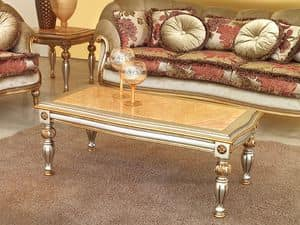 Kos Coffe table, Classic coffee table in carved wood, for Luxury Hotel