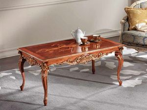 Lawrence coffee table, Coffee table with gold leaf carvings.