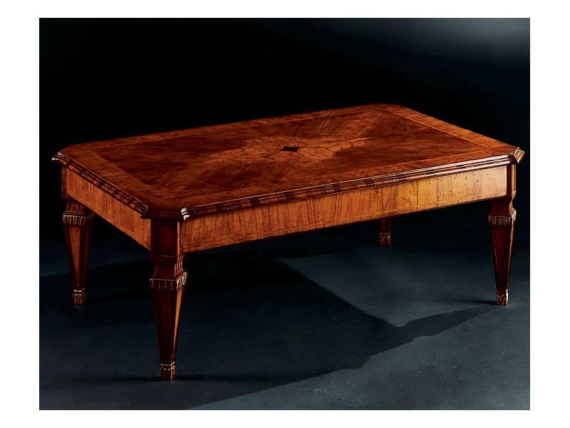 Maggiolini coffee table 798, Luxury classic coffee table in carved wood