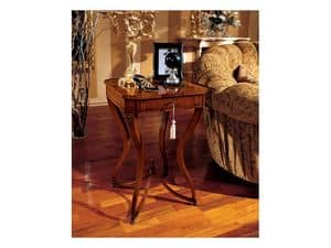 Marika side table 739, Classic style square coffee table in wood with curved legs