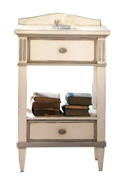 Michelle BR.0601, Lacquered bedside table, with 2 drawers, classic style