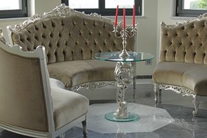 Oscar wood and glass, Round table for luxury hotel