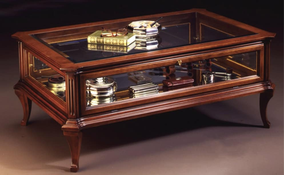 Oxford Art.509 glass-case table, Classic coffee table for center hall with showcase, in walnut