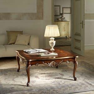 P 501, Square coffee table in walnut, carved, gold leaf details