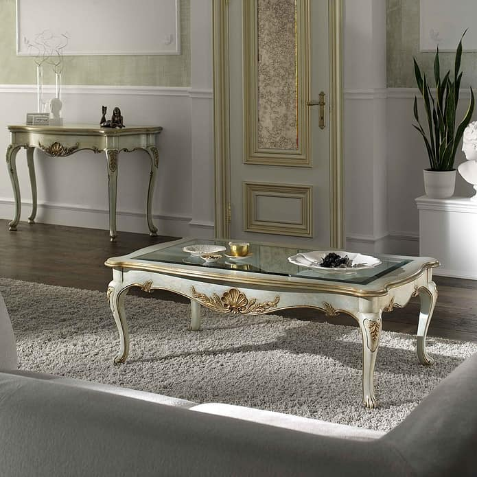 P 503 L, Rectangular coffee table, lacquered, glass top