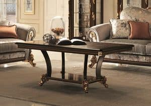 Sinfonia coffee table, Classic coffee table for the center room, with thin legs
