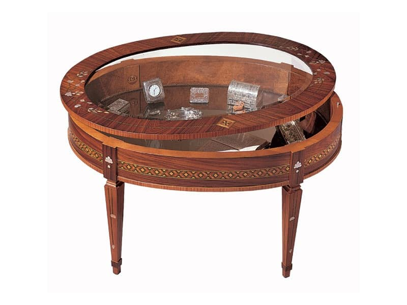 T596 coffee table, Traditional coffee table, with show case, inlaid wood