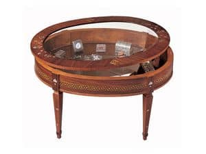 T596, Traditional coffee table, with show case, inlaid wood