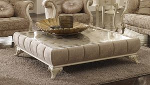 Tea coffee table, Padded coffee table, with glass top