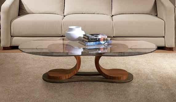 TL57 Mistral small table, Table for center hall, in walnut, with glass top