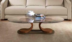 TL57 Mistral, Table for center hall, in walnut, with glass top